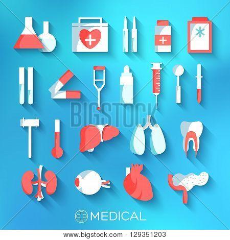 Flat Medicine Equipment Set Icon Concept On Blurred Background.