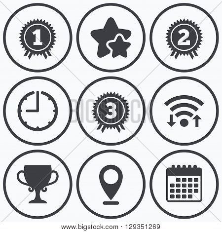 Clock, wifi and stars icons. First, second and third place icons. Award medals sign symbols. Prize cup for winner. Calendar symbol.