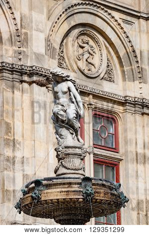 Statue of Nude Woman Outside Opera House in Vienna