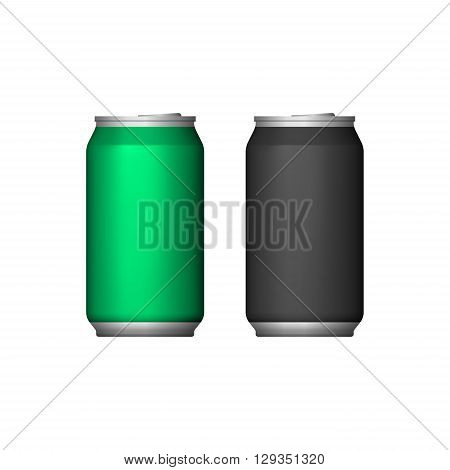 Two Aluminum Can Green Black. Blank Metal Aluminum Beverage Drink Can. Illustration Isolated. Mock Up Template Ready For Your Design. Vector EPS10
