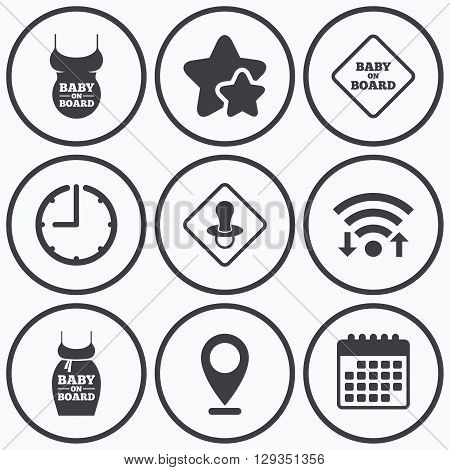 Clock, wifi and stars icons. Baby on board icons. Infant caution signs. Child pacifier nipple. Pregnant woman dress with big belly. Calendar symbol.