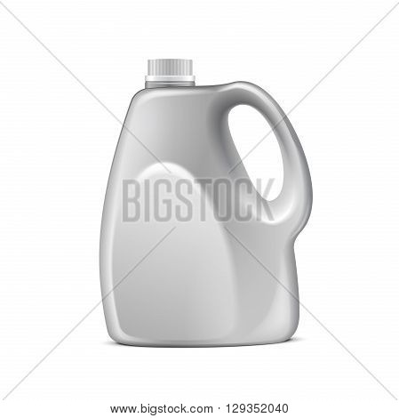 White Plastic Jerrycan Oil, Cleanser, Detergent, Abstergent, Liquid Soap, Milk, Juice. Illustration Isolated On White Background. Mock Up Template Ready For Your Design. Vector EPS10