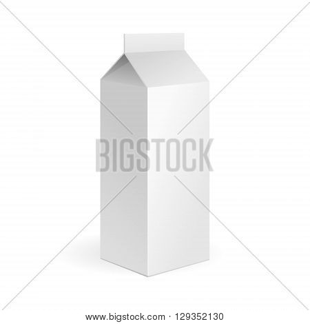 Milk, Juice Carton Package Blank White On White Background Isolated. Illustration Isolated On White Background. Mock Up Template Ready For Your Design. Product Packing Vector EPS10