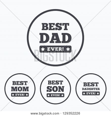 Best mom and dad, son and daughter icons. Awards with exclamation mark symbols. Icons in circles.