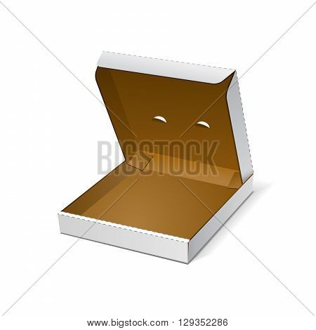 Open White Blank Carton Pizza Box On White Background Isolated. Mock Up Template Ready For Your Design. Food Product Packing Vector EPS10