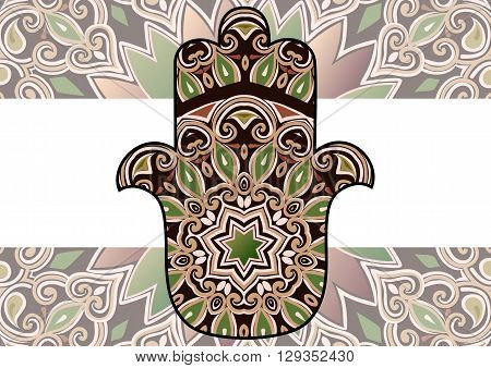 ethnic hamsa background. Card with a pattern in ethnic style - maroon-brown hamsa with mandala on background