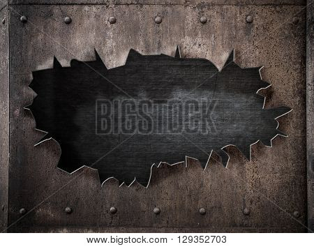 torn hole in rusty metal steam punk 3d illustration background