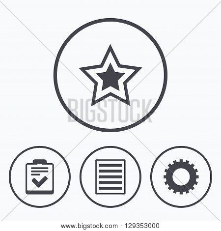 Star favorite and menu list icons. Checklist and cogwheel gear sign symbols. Icons in circles.