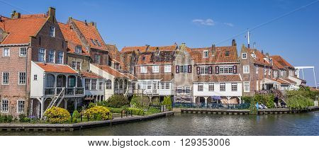 Panorama of houses around the harbor in Enkhuizen Holland