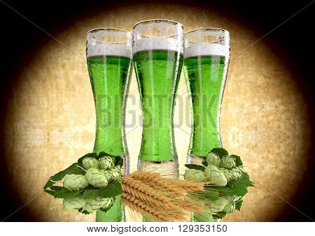 three glasses of green beer with barley and hops  - 3D render