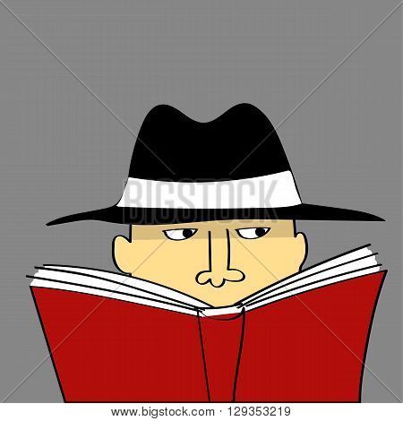 A suspicious looking man in a black hat watches from behind a red book like a private eye or a spy