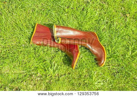 Pair of old rubber boots lie on the grass