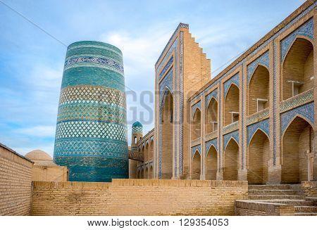 Uzbekistan Khiva the Kalta Minor minaret at Muhammad Amin Khan Madrassah
