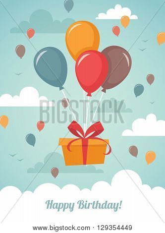 Birthday greeting card with colorful illustration of gift box flying on balloons high in the sky