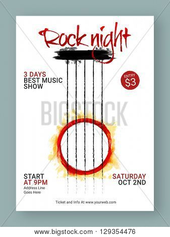 Three (Number 3) Days Rock Night Party Template, Dance Party Flyer, Musical Party Banner or Club Invitation design.