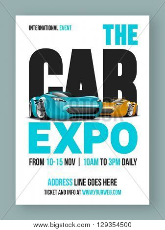 The Car Expo Template, Banner or Flyer design with glossy luxurious cars and event details.