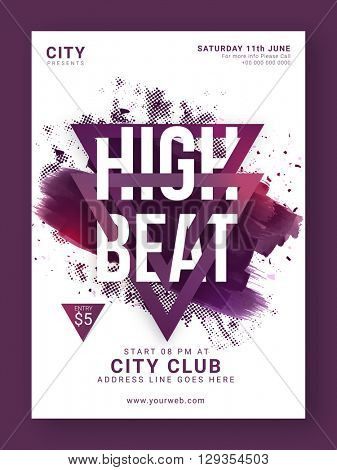 Abstract design decorated, High Beat Musical Party Template, Dance Party Flyer, Night Party Banner or Club Invitation design.