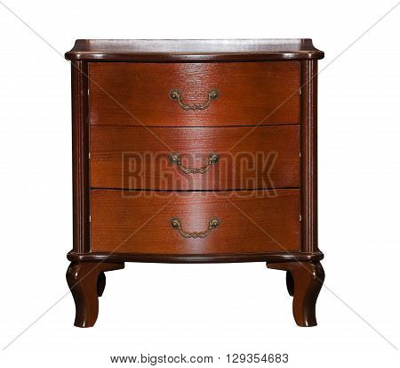 Brown chest of drawers isolated on white background