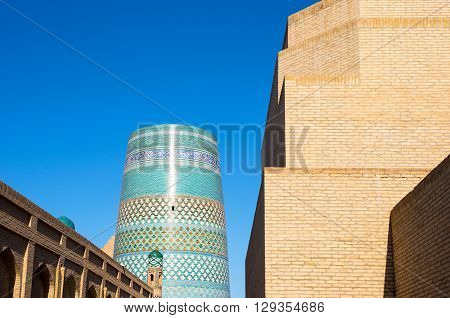 Uzbekistan Khiva the Kalta Minor minaret at Muhammad Amin Khan Madrassah seen from the country center