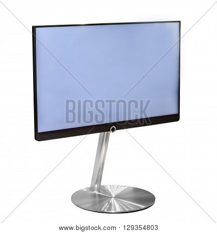 Tv with empty blue screen isolated on white background