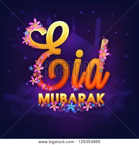 Beautiful flowers decorated text Eid Mubarak on purple mosque background, Elegant greeting card design for Muslim Community Festival celebration.