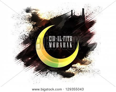 Creative Glossy Crescent Moon on stylish abstract background with Mosque for Islamic Holy Festival, Eid-Al-Fitr celebration.