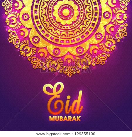 Beautiful golden floral design decorated, Elegant Greeting Card for Islamic Famous Festival, Eid Mubarak celebration.