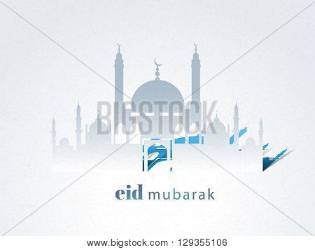 Creative Mosque on grey background for Islamic Holy Festival, Eid Mubarak celebration.
