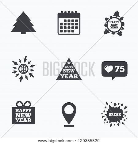 Calendar, like counter and go to web icons. Happy new year icon. Christmas trees signs. World globe symbol. Location pointer.