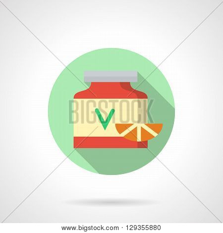Red jar with green letter V on label and slice of citrus. Maintaining health. Natural vitamins for  food supplements. Round flat color vector icon. Web design element for site, mobile and business.
