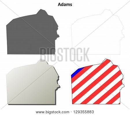 Adams County, Pennsylvania blank outline map set