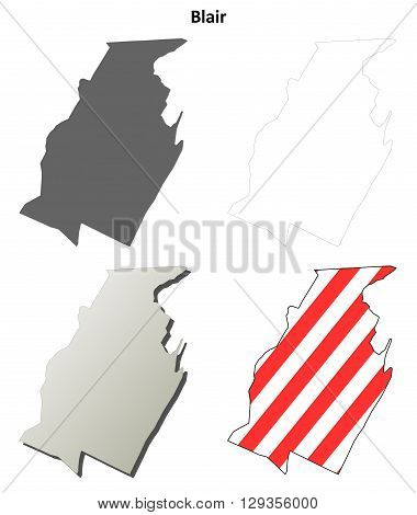 Blair County, Pennsylvania blank outline map set