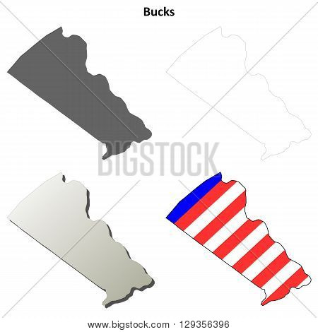 Bucks County, Pennsylvania blank outline map set