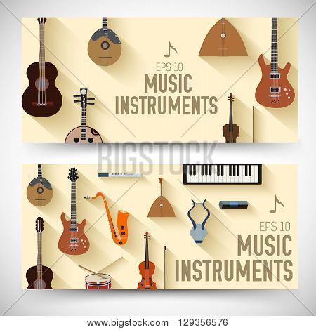 Flat Music Instruments Banners Concept. Vector Illustrator Desig