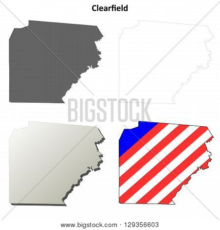 Clearfield County, Pennsylvania blank outline map set