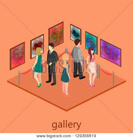 Isometric Interior Of Picture Gallery