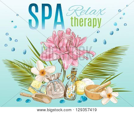 Spa treatment banner.Design for cosmetics, store, spa and beauty salon, organic health care products. Can be used as logo design. Vector illustration.