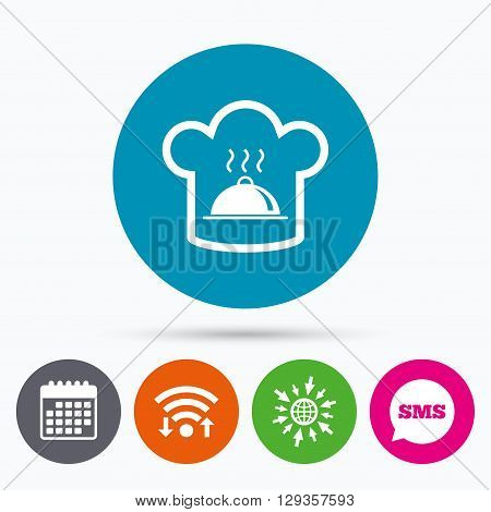 Wifi, Sms and calendar icons. Chef hat sign icon. Cooking symbol. Cooks hat with hot dish. Go to web globe.