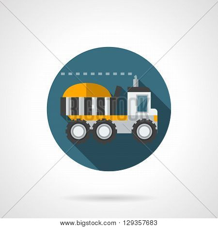 Loaded large truck a side view. Farming vehicles - harvesting, delivery of food agricultural products. Round flat color style vector icon. Web design element for site, mobile and business.