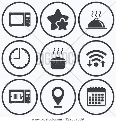 Clock, wifi and stars icons. Microwave grill oven icons. Cooking pan signs. Food platter serving symbol. Calendar symbol.
