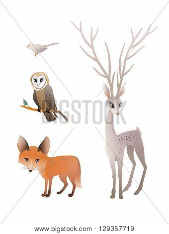 Forest Animals Vector Set. Deer, Red Fox, Owl, Bird. The vector illustration of the Forest Animals. Set of Cute Animals isolated on White Background. Vector illustration EPS8. No Transparency!