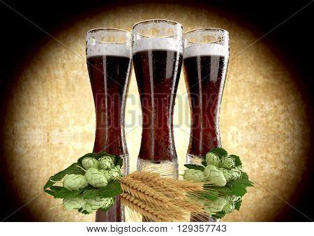 black beers with barley and hops  - 3D render