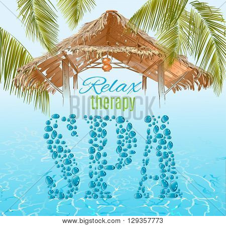 Spa banner  in exotic style with water drops letters, bungalow roof and palm leafs on water shine background.Design for cosmetics, store, spa and beauty salon or travel agency.Vector illustration