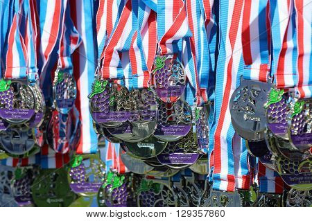 Heilbronn, Germany - May 8, 2016: Lots of Finisher Medals of Heilbronn Marathon. On May 2016 it was the 16. Marathon Event in this Town in Germany