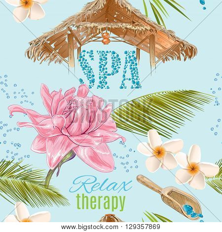 Tropic style spa treatment seamless pattern with lotus, shells and frangipani.Design for cosmetics, store, spa and beauty salon, natural and organic health care products. Vector illustration.