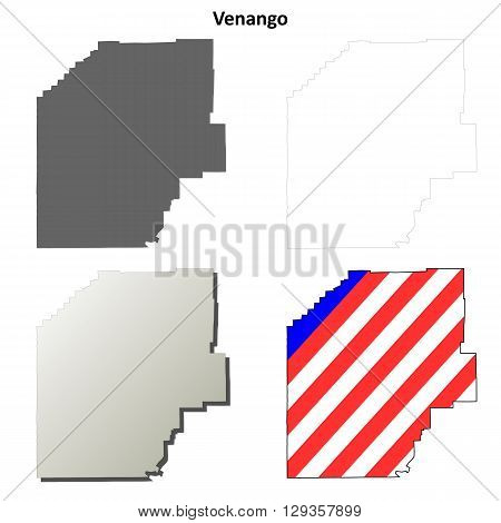 Venango County, Pennsylvania blank outline map set