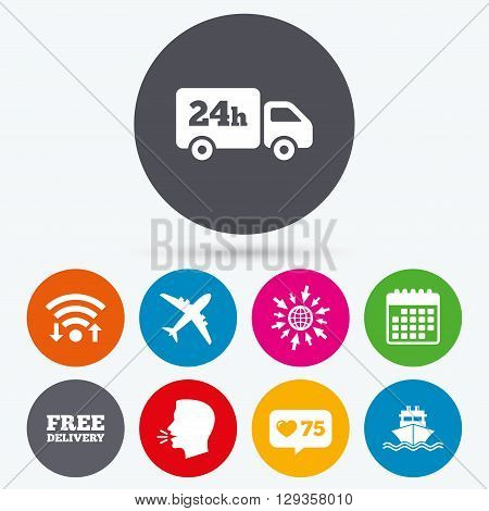 Wifi, like counter and calendar icons. Cargo truck and shipping icons. Shipping and free delivery signs. Transport symbols. 24h service. Human talk, go to web.