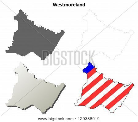 Westmoreland County, Pennsylvania blank outline map set