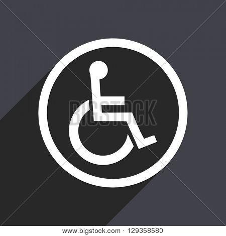 flat design wheelchair vector icon