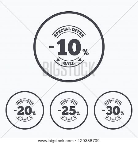Sale discount icons. Special offer stamp price signs. 10, 20, 25 and 30 percent off reduction symbols. Icons in circles.